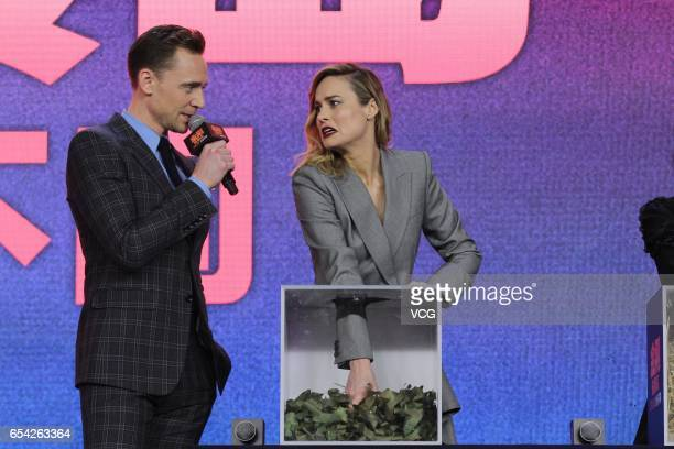 Actor Tom Hiddleston and actress Brie Larson attend the press conference of film 'Kong Skull Island ' at China World Trade Center Tower III on March...