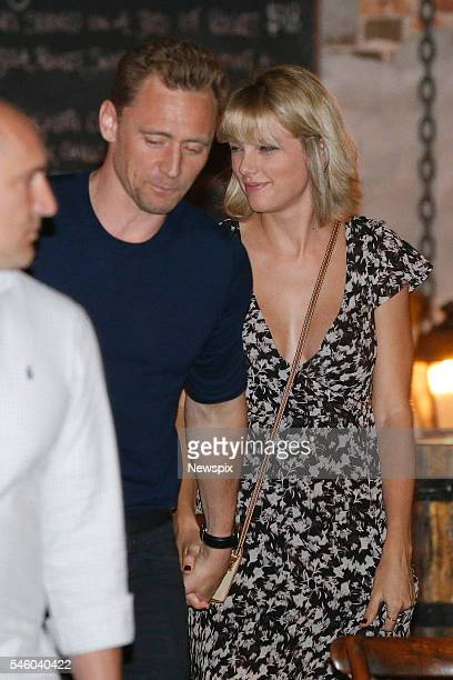 Actor Tom Hiddleston and singer Taylor Swift leave restaurant 'Gemelli Italian' in Broadbeach on the Gold Coast Queensland
