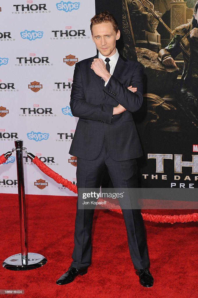 Actor Tom Hiddleston arrives at the Los Angeles Premiere 'Thor: The Dark World' at the El Capitan Theatre on November 4, 2013 in Hollywood, California.