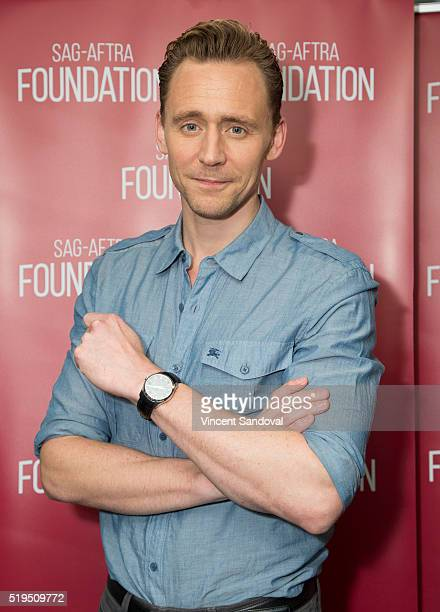 Actor Tom Hiddleston attends SAGAFTRA Foundation Conversations with Tom Hiddleston for 'The Night Manager' at SAGAFTRA Foundation on April 6 2016 in...