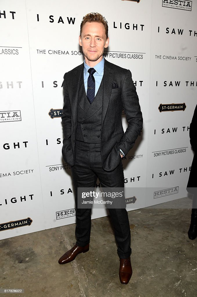 Actor Tom Hiddleston attends The Cinema Society With Hestia StGermain Host a Screening of Sony Pictures Classics' 'I Saw the Light' at Metrograph on...