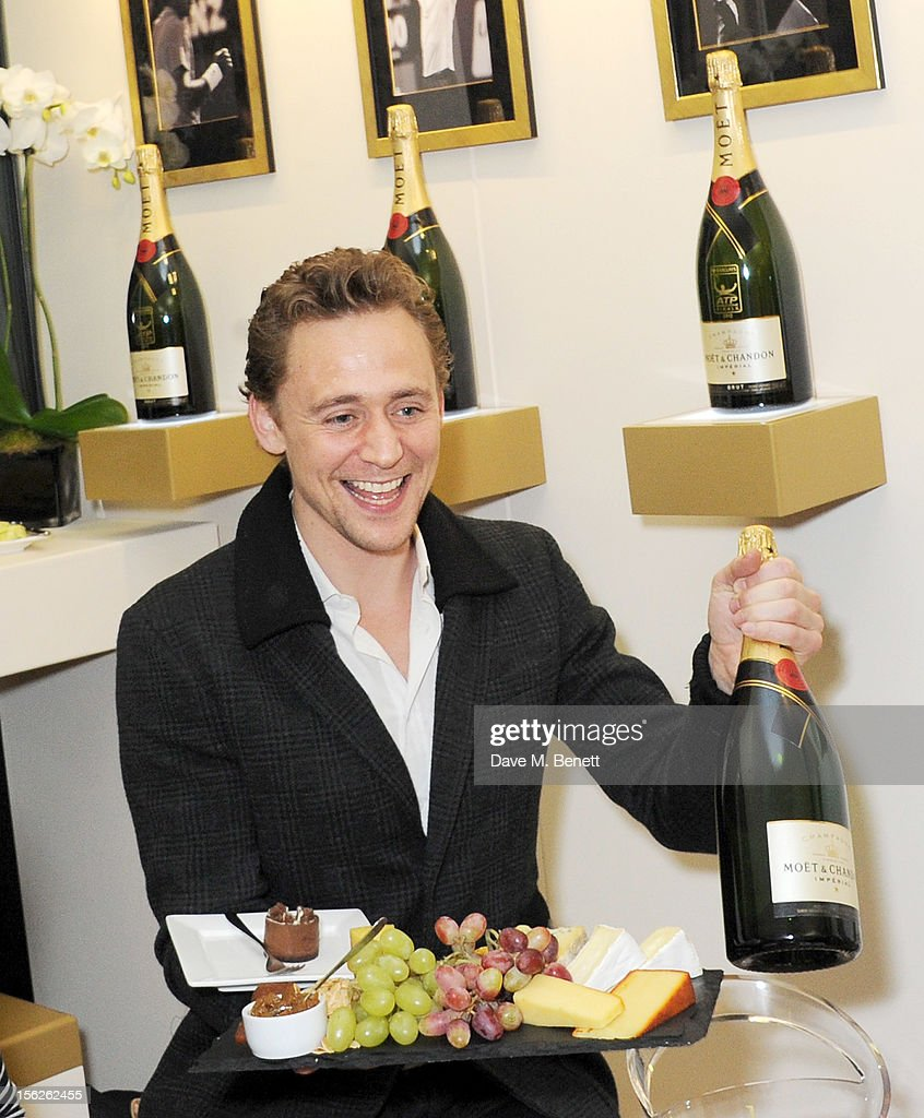 Actor <a gi-track='captionPersonalityLinkClicked' href=/galleries/search?phrase=Tom+Hiddleston&family=editorial&specificpeople=4686407 ng-click='$event.stopPropagation()'>Tom Hiddleston</a> attends the Moet & Chandon VIP Suite during day eight of the ATP World Finals at the O2 Arena on November 12, 2012 in London, England.