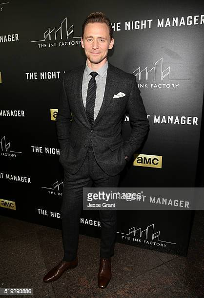 Actor Tom Hiddleston attends the premiere of AMC's 'The Night Manager' at DGA Theater on April 5 2016 in Los Angeles California