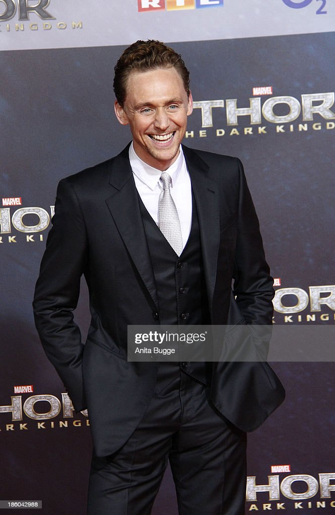 Actor Tom Hiddleston attends the 'Thor: The Dark World' Germany premiere at Cinestar on October 27, 2013 in Berlin, Germany.
