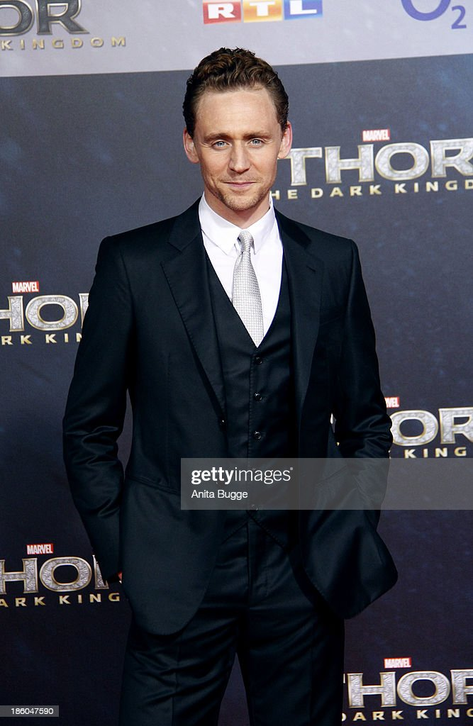 Actor <a gi-track='captionPersonalityLinkClicked' href=/galleries/search?phrase=Tom+Hiddleston&family=editorial&specificpeople=4686407 ng-click='$event.stopPropagation()'>Tom Hiddleston</a> attends the 'Thor: The Dark World' Germany premiere at Cinestar on October 27, 2013 in Berlin, Germany.