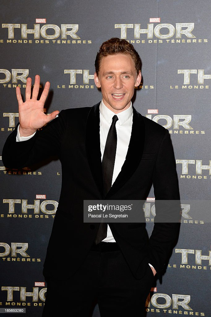 Actor <a gi-track='captionPersonalityLinkClicked' href=/galleries/search?phrase=Tom+Hiddleston&family=editorial&specificpeople=4686407 ng-click='$event.stopPropagation()'>Tom Hiddleston</a> attends 'Thor: The Dark World' Premiere at Le Grand Rex on October 23, 2013 in Paris, France.