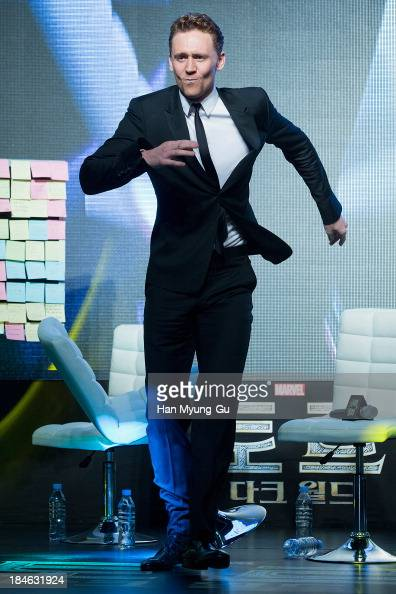 Actor Tom Hiddleston dances for Korean fans the 'Thor The Dark World' premiere at Times Square on October 14 2013 in Seoul South Korea Tom Hiddleston...