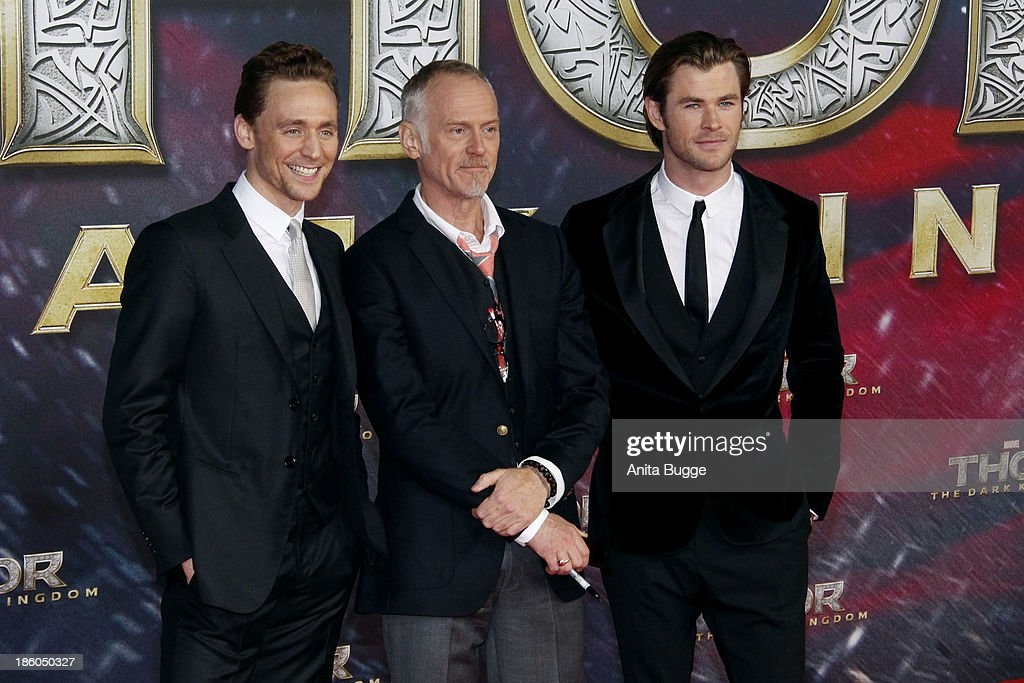 Actor <a gi-track='captionPersonalityLinkClicked' href=/galleries/search?phrase=Tom+Hiddleston&family=editorial&specificpeople=4686407 ng-click='$event.stopPropagation()'>Tom Hiddleston</a>, director Alan Taylor and actor <a gi-track='captionPersonalityLinkClicked' href=/galleries/search?phrase=Chris+Hemsworth&family=editorial&specificpeople=646776 ng-click='$event.stopPropagation()'>Chris Hemsworth</a> attend the 'Thor: The Dark World' Germany premiere at Cinestar on October 27, 2013 in Berlin, Germany.