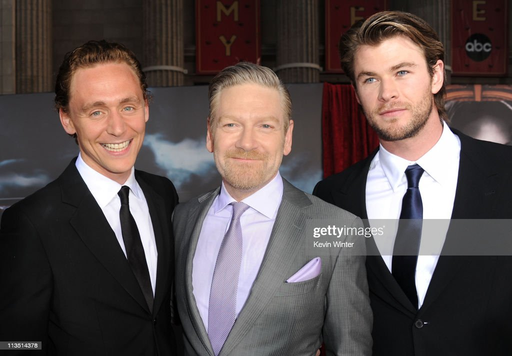 Actor <a gi-track='captionPersonalityLinkClicked' href=/galleries/search?phrase=Tom+Hiddleston&family=editorial&specificpeople=4686407 ng-click='$event.stopPropagation()'>Tom Hiddleston</a>, director <a gi-track='captionPersonalityLinkClicked' href=/galleries/search?phrase=Kenneth+Branagh&family=editorial&specificpeople=213618 ng-click='$event.stopPropagation()'>Kenneth Branagh</a> and actor<a gi-track='captionPersonalityLinkClicked' href=/galleries/search?phrase=Chris+Hemsworth&family=editorial&specificpeople=646776 ng-click='$event.stopPropagation()'>Chris Hemsworth</a> arrive at the premiere of Paramount Pictures' and Marvel's 'Thor' held at the El Capitan Theatre on May 2, 2011 in Los Angeles, California.