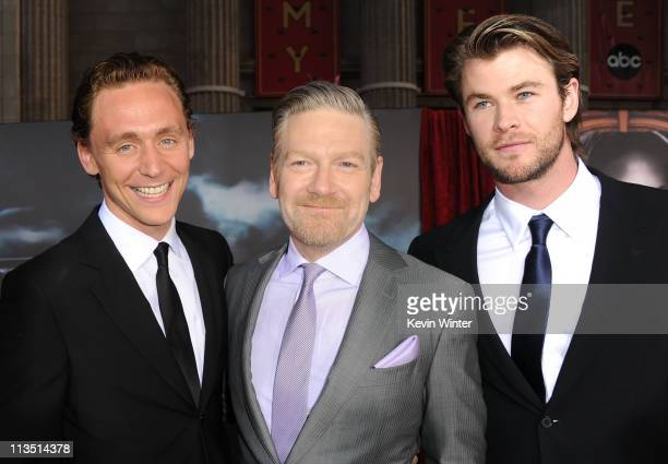 Actor Tom Hiddleston director Kenneth Branagh and actorChris Hemsworth arrive at the premiere of Paramount Pictures' and Marvel's 'Thor' held at the...