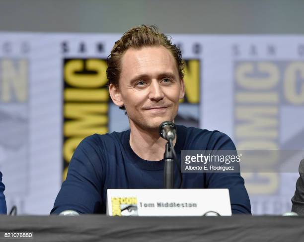 Actor Tom Hiddleston from Marvel Studios' 'Thor Ragnarok' at the San Diego ComicCon International 2017 Marvel Studios Panel in Hall H on July 22 2017...