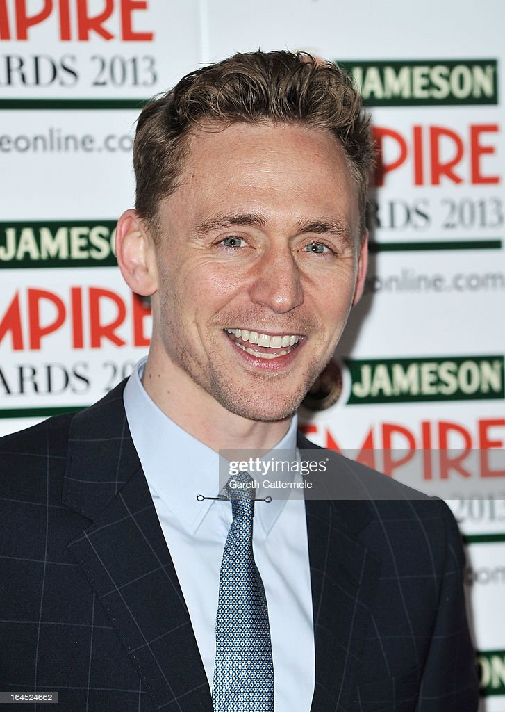 Actor <a gi-track='captionPersonalityLinkClicked' href=/galleries/search?phrase=Tom+Hiddleston&family=editorial&specificpeople=4686407 ng-click='$event.stopPropagation()'>Tom Hiddleston</a> is pictured arriving at the Jameson Empire Awards at Grosvenor House on March 24, 2013 in London, England.