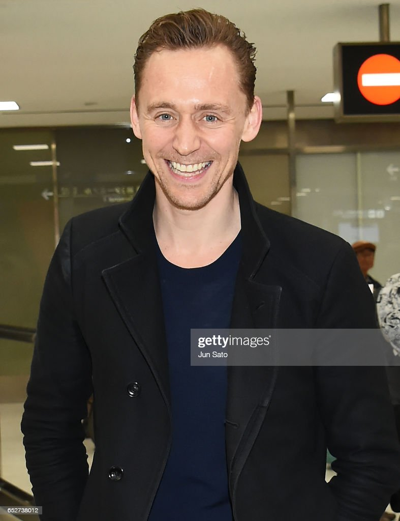 Actor Tom Hiddleston is seen upon arrival at Narita International Airport on March 13, 2017 in Narita, Japan.