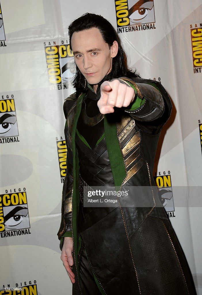 Actor <a gi-track='captionPersonalityLinkClicked' href=/galleries/search?phrase=Tom+Hiddleston&family=editorial&specificpeople=4686407 ng-click='$event.stopPropagation()'>Tom Hiddleston</a> poses backstage at Marvel Studios 'Thor: The Dark World' and 'Captain America: The Winter Soldier' during Comic-Con International 2013 at San Diego Convention Center on July 20, 2013 in San Diego, California.