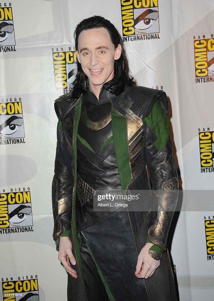 Actor Tom Hiddleston poses backstage at Marvel Studios 'Thor: The Dark World' and 'Captain America: The Winter Soldier' during Comic-Con International 2013 at San Diego Convention Center on July 20, 2013 in San Diego, California.