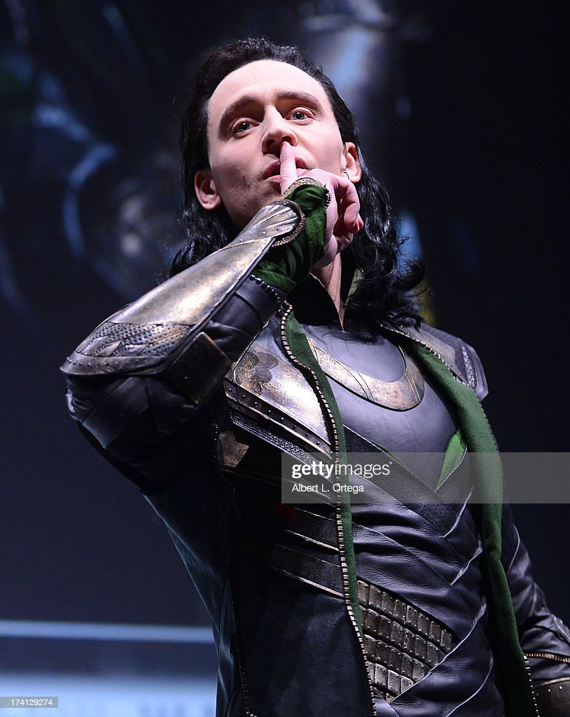 Actor Tom Hiddleston speaks onstage at Marvel Studios 'Thor: The Dark World' and 'Captain America: The Winter Soldier' during Comic-Con International 2013 at San Diego Convention Center on July 20, 2013 in San Diego, California.