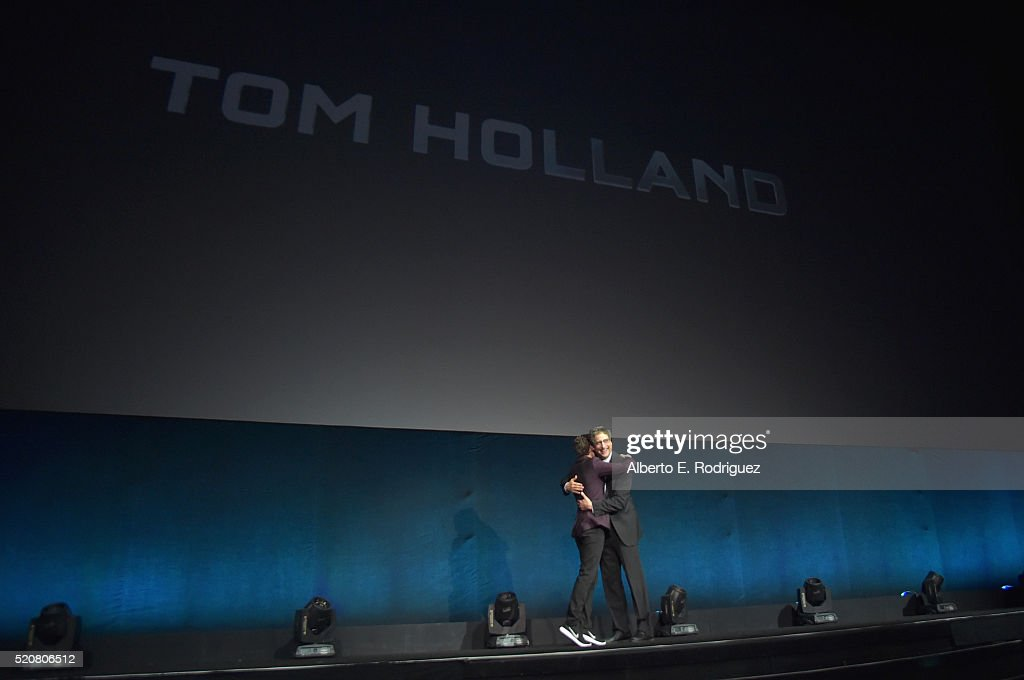 Actor Tom Holland and Chairman of Sony Picture Entertainment Motion Pictures Group Tom Rothman speak onstage during CinemaCon 2016 An Evening with...