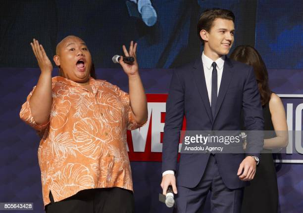 Actor Tom Holland and Jacob Batalon attend the Red Carpet Event for 'SpiderMan Homecoming' at Times square CGV theater in Seoul South Korea on July...