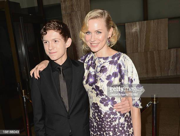 Actor Tom Holland and Naomi Watts attend the Los Angeles premiere of Summit Entertainment's 'The Impossible' at ArcLight Cinemas Cinerama Dome on...