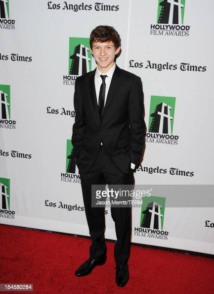 Actor Tom Holland arrives at the 16th Annual Hollywood Film Awards Gala presented by The Los Angeles Times held at The Beverly Hilton Hotel on...