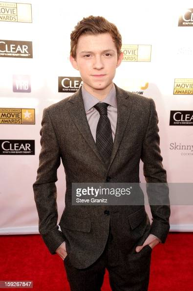 Actor Tom Holland arrives at the 18th Annual Critics' Choice Movie Awards at The Barker Hangar on January 10 2013 in Santa Monica California