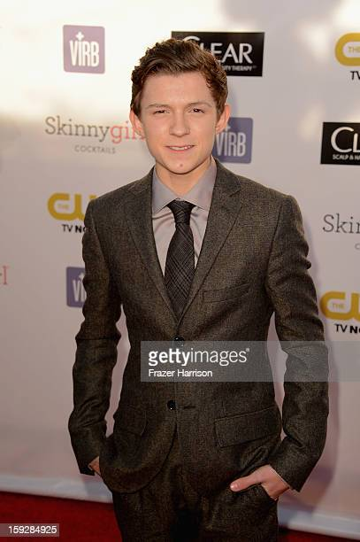 Actor Tom Holland arrives at the 18th Annual Critics' Choice Movie Awards at Barker Hangar on January 10 2013 in Santa Monica California