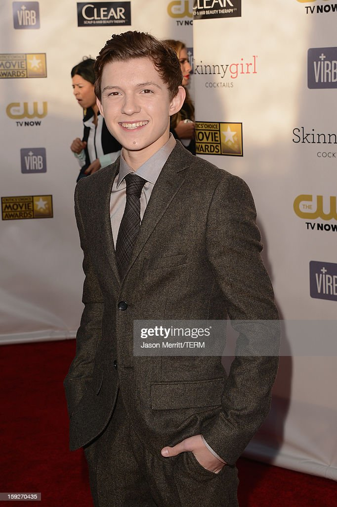 Actor Tom Holland arrives at the 18th Annual Critics' Choice Movie Awards held at Barker Hangar on January 10, 2013 in Santa Monica, California.