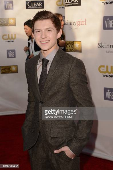 Actor Tom Holland arrives at the 18th Annual Critics' Choice Movie Awards held at Barker Hangar on January 10 2013 in Santa Monica California