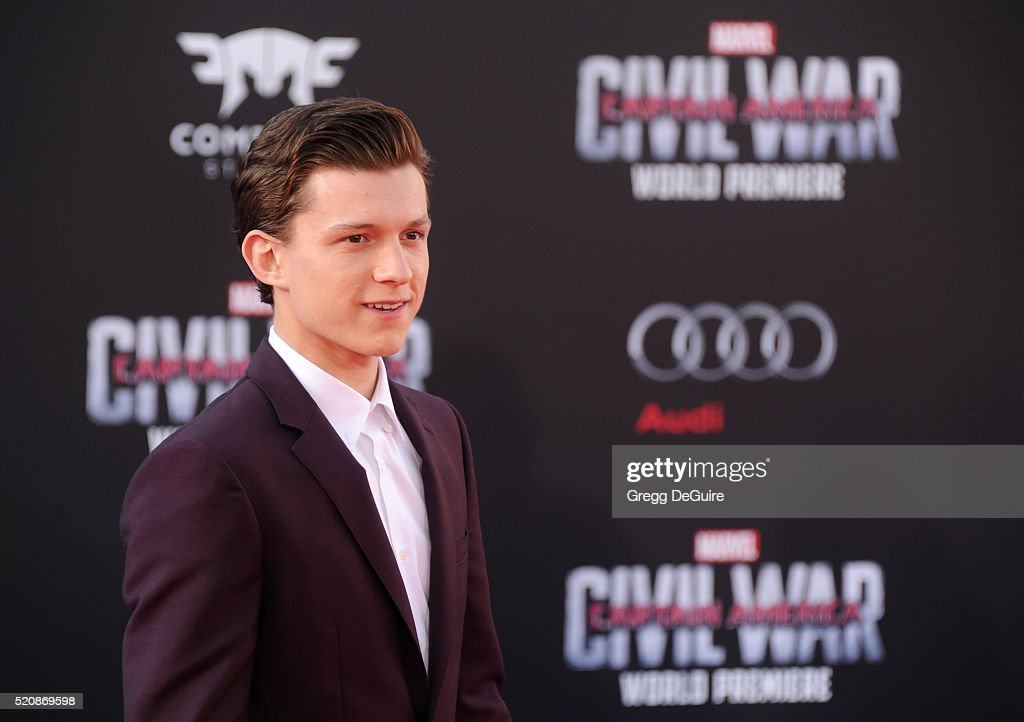 Actor <a gi-track='captionPersonalityLinkClicked' href=/galleries/search?phrase=Tom+Holland+-+Actor&family=editorial&specificpeople=9843230 ng-click='$event.stopPropagation()'>Tom Holland</a> arrives at the premiere of Marvel's 'Captain America: Civil War' on April 12, 2016 in Hollywood, California.