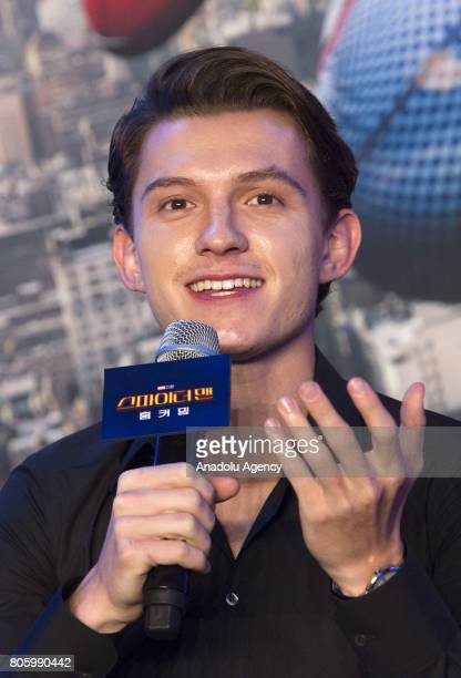 Actor Tom Holland attends a press conference to promote new movie 'SpiderMan Homecoming' at Corad Seoul Hotel in Seoul South Korea on July 03 2017