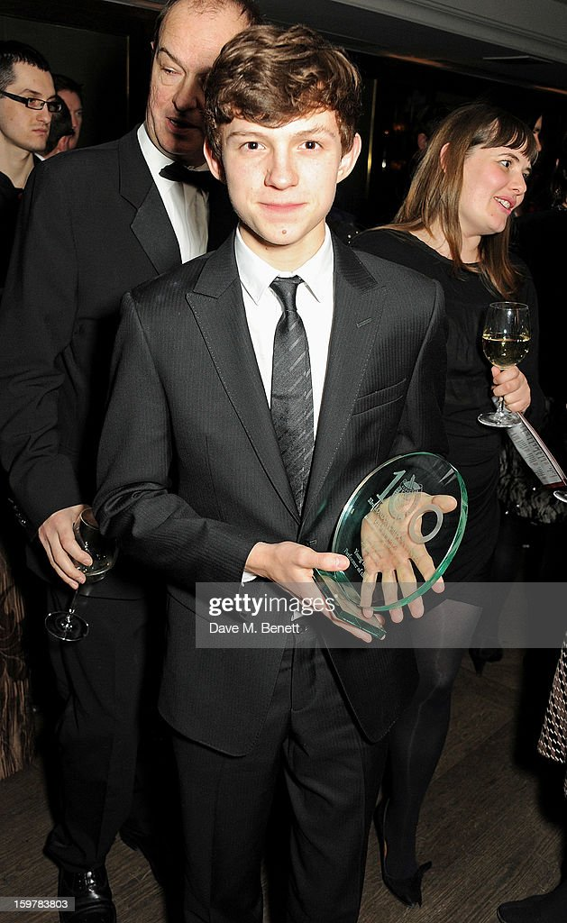 Actor Tom Holland attends an after party following the London Critics Circle Film Awards at Quince Restaurant, The May Fair Hotel on January 20, 2013 in London, England.