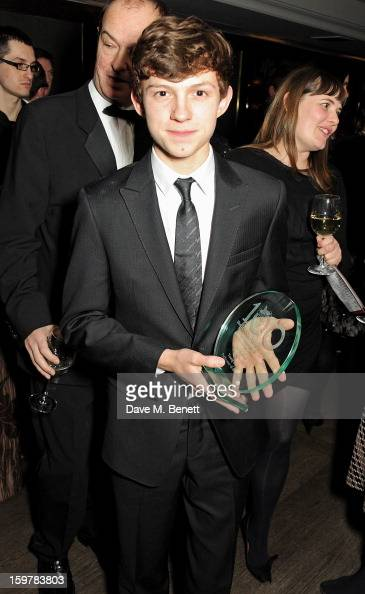 Actor Tom Holland attends an after party following the London Critics Circle Film Awards at Quince Restaurant The May Fair Hotel on January 20 2013...
