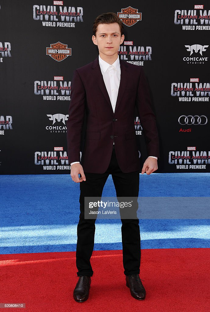 Actor Tom Holland attends the premiere of 'Captain America Civil War' at Dolby Theatre on April 12 2016 in Hollywood California