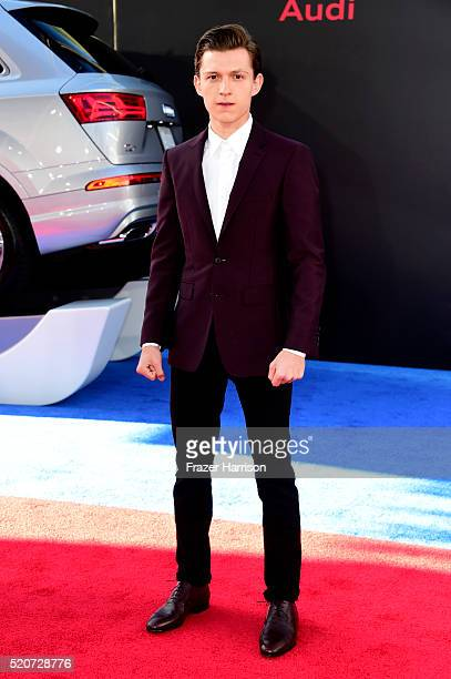 Actor Tom Holland attends the premiere of Marvel's 'Captain America Civil War' at Dolby Theatre on April 12 2016 in Los Angeles California