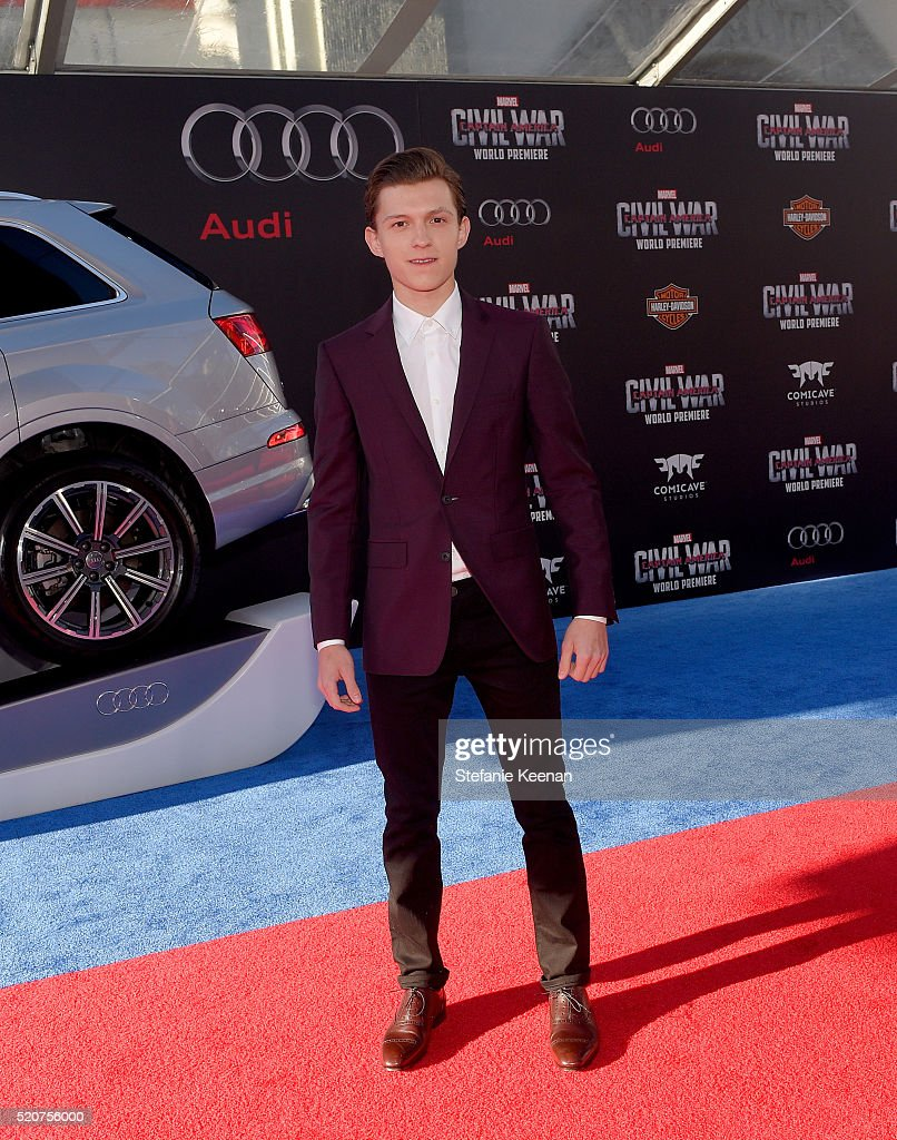 Actor Tom Holland attends the World Premiere of 'Captain America Civil War' hosted by Audi at Dolby Theatre on April 12 2016 in Hollywood California