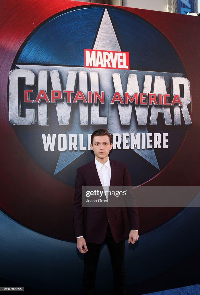 Actor <a gi-track='captionPersonalityLinkClicked' href=/galleries/search?phrase=Tom+Holland+-+Actor&family=editorial&specificpeople=9843230 ng-click='$event.stopPropagation()'>Tom Holland</a> attends The World Premiere of Marvel's 'Captain America: Civil War' at Dolby Theatre on April 12, 2016 in Los Angeles, California.
