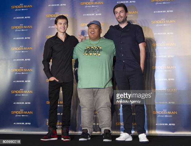 Actor Tom Holland Jacob Batalon and Director Jon Watts attend a press conference to promote new movie 'SpiderMan Homecoming' at Corad Seoul Hotel in...