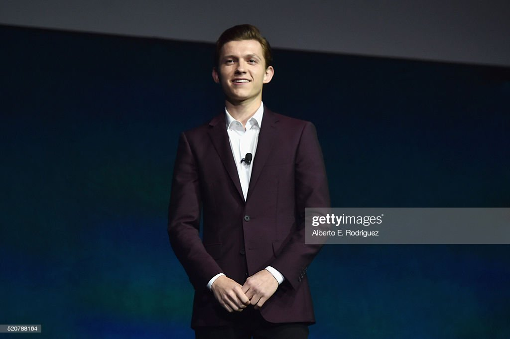Actor <a gi-track='captionPersonalityLinkClicked' href=/galleries/search?phrase=Tom+Holland+-+Actor&family=editorial&specificpeople=9843230 ng-click='$event.stopPropagation()'>Tom Holland</a> speaks onstage during CinemaCon 2016 An Evening with Sony Pictures Entertainment: Celebrating the Summer of 2016 and Beyond at The Colosseum at Caesars Palace during CinemaCon, the official convention of the National Association of Theatre Owners, on April 12, 2016 in Las Vegas, Nevada.