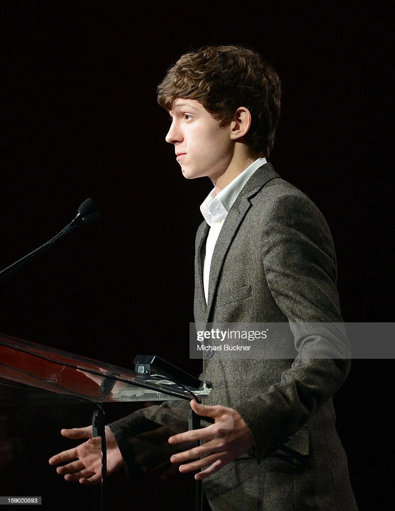Actor Tom Holland speaks onstage during the 24th annual Palm Springs International Film Festival Awards Gala at the Palm Springs Convention Center on January 5, 2013 in Palm Springs, California.