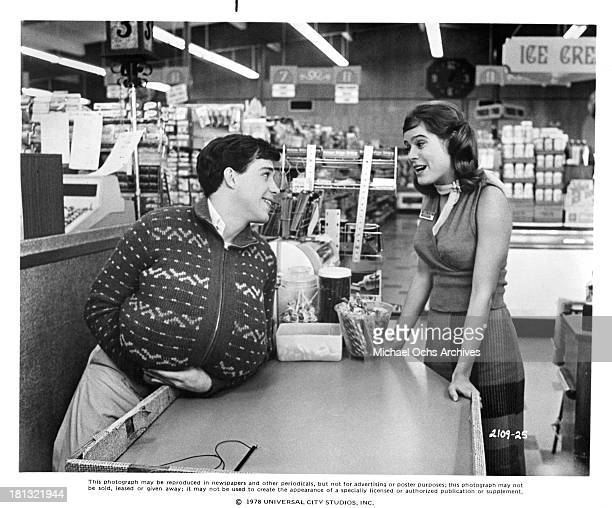 Actor Tom Hulce and actress Sarah Holcomb on the set of the Universal Studios movie 'Animal House' in 1978