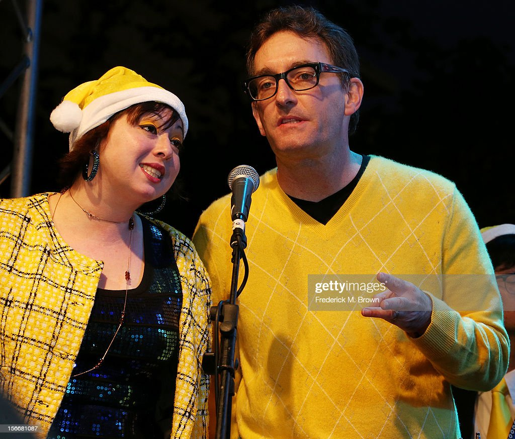 Actor Tom Kenny (R) performs during Nickelodeon's Spongebob Holiday Extravapants At The Grove on November 18, 2012 in Los Angeles, California.