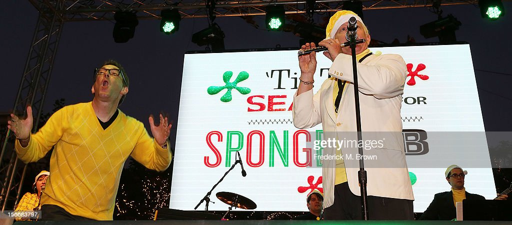 Actor Tom Kenny (L) performs during Nickelodeon's Spongebob Holiday Extravapants At The Grove on November 18, 2012 in Los Angeles, California.