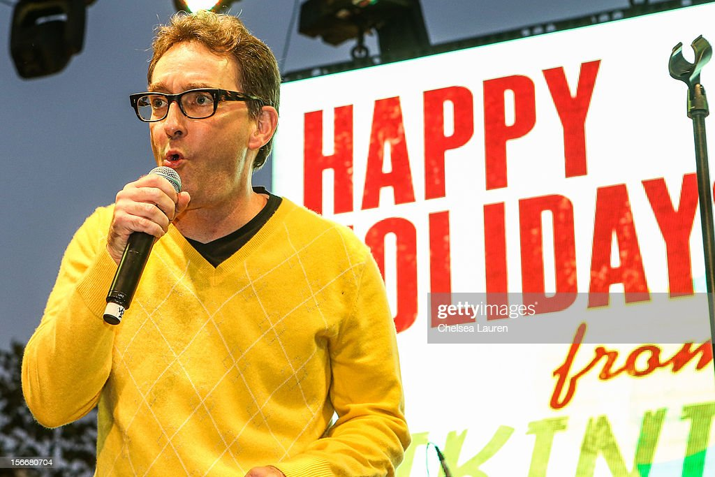 Actor <a gi-track='captionPersonalityLinkClicked' href=/galleries/search?phrase=Tom+Kenny&family=editorial&specificpeople=215463 ng-click='$event.stopPropagation()'>Tom Kenny</a> performs in the 'Spongebob Holiday Extravapants!' stage show at The Grove on November 18, 2012 in Los Angeles, California.
