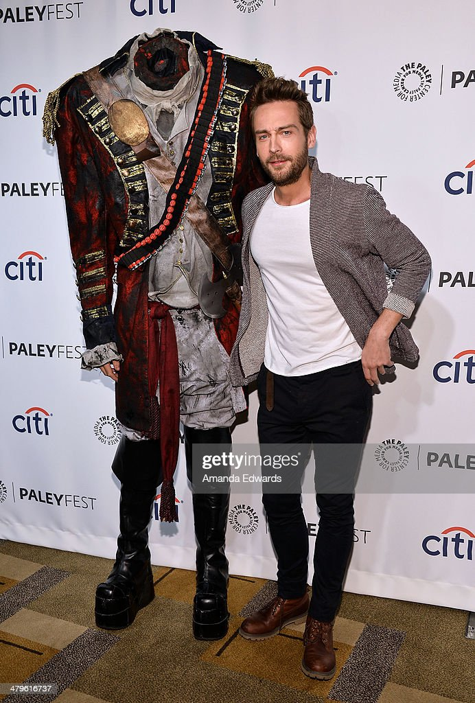 Actor Tom Mison and the Headless Horseman arrive at the 2014 PaleyFest - 'Sleepy Hollow' event at The Dolby Theatre on March 19, 2014 in Hollywood, California.