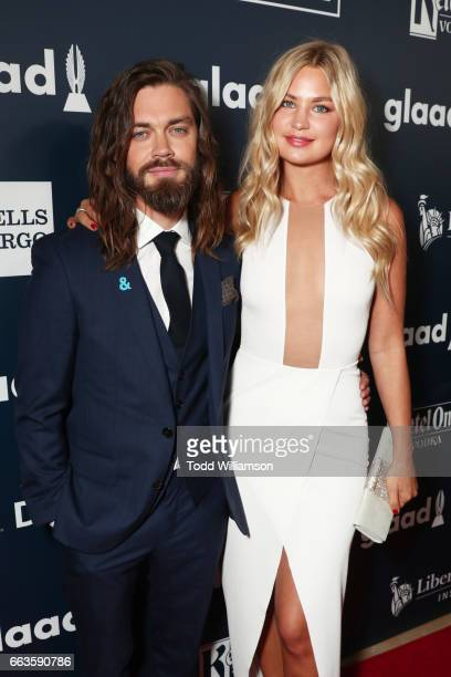 Actor Tom Payne and model Jennifer Akerman attends the 28th Annual GLAAD Media Awards in LA at The Beverly Hilton Hotel on April 1 2017 in Beverly...
