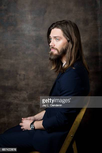 Actor Tom Payne from AMC's 'The Walking Dead is photographed during Paley Fest for Los Angeles Times on March 17 2017 in Los Angeles California...
