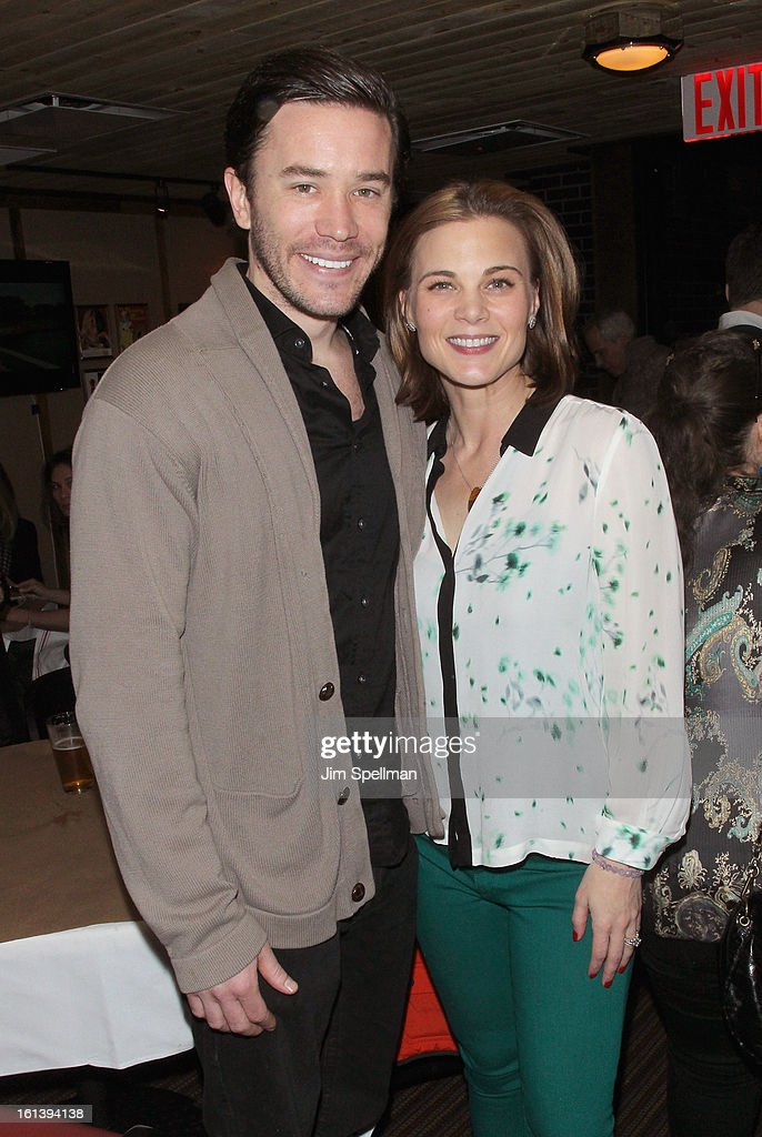 Actor Tom Pelphrey and <a gi-track='captionPersonalityLinkClicked' href=/galleries/search?phrase=Gina+Tognoni&family=editorial&specificpeople=592147 ng-click='$event.stopPropagation()'>Gina Tognoni</a> attends the 'Spontaneous Construction' premiere at Guy?s American Kitchen & Bar on February 10, 2013 in New York City.