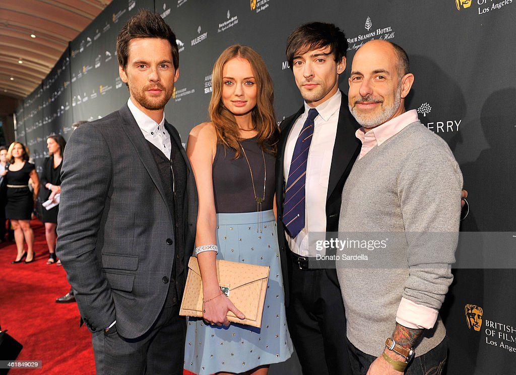 Actor <a gi-track='captionPersonalityLinkClicked' href=/galleries/search?phrase=Tom+Riley&family=editorial&specificpeople=2641010 ng-click='$event.stopPropagation()'>Tom Riley</a>, actress <a gi-track='captionPersonalityLinkClicked' href=/galleries/search?phrase=Laura+Haddock&family=editorial&specificpeople=4949007 ng-click='$event.stopPropagation()'>Laura Haddock</a>, actor Blake Ritson and writer David Goyer attend the BAFTA LA Awards Season Tea Party with Mulberry at the Four Seasons Hotel Los Angeles at Beverly Hills on January 11, 2014 in Beverly Hills, California.