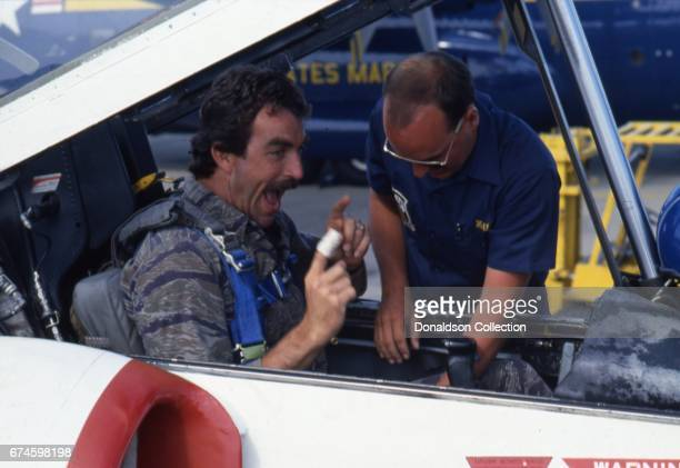 Actor Tom Selleck looks shellshocked after taking a ride in a military jet in December 1982 in Los Angeles California