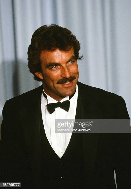 Actor Tom Selleck poses backstage during the 55th Academy Awards at Dorothy Chandler Pavilion Los Angeles California
